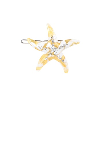 Glamorousky white Fashion Simple Yellow Starfish Hair Clip with Cubic Zirconia ACC28AC66DA8BDGS_1