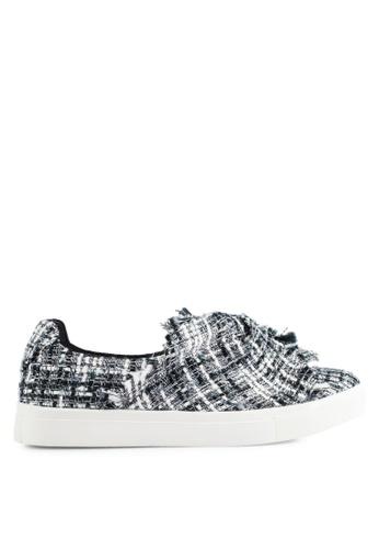 ZALORA black and white Tweed Wrap Slip Ons D1C85SH17E7757GS_1