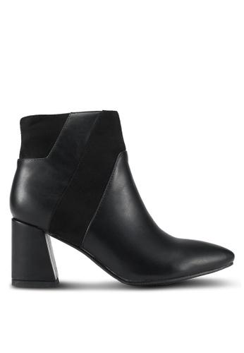 DMK black Contrasted Block Heel Boots DM860SH0SF55MY_1
