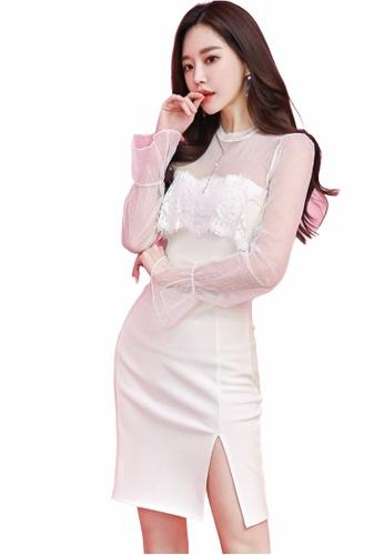 Crystal Korea Fashion white Korean-made sheer mesh white party dress 402CFAAA0194E2GS_1