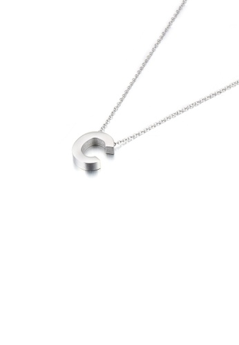 Glamorousky 銀色 簡約氣質英文字母C 316L鋼吊墜配項鏈 3B7A7ACE259AD3GS_1