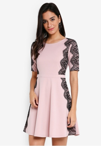 ZALORA pink Fit & Flare Dress with Lace 14493AA1EFC828GS_1