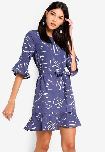 ZALORA blue and multi Ruffle Sleeves Dress 64B79AA4CDE1D9GS_1