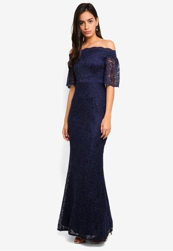 dba0cac522f Goddiva navy Bardot Lace Maxi Dress With Bell Sleeves 92DBBAA188A9E3GS_1
