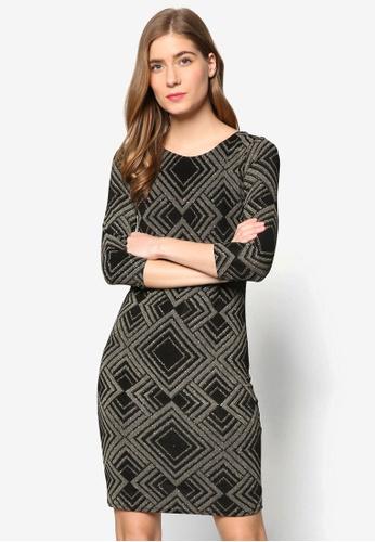 Wallis gold Gold Geometric Print Sparkle Shift Dress WA800AA97YOWMY_1