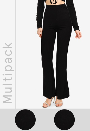 MISSGUIDED black 2 Packs Jersey Flare Pants 5EE5EAA06287E9GS_1