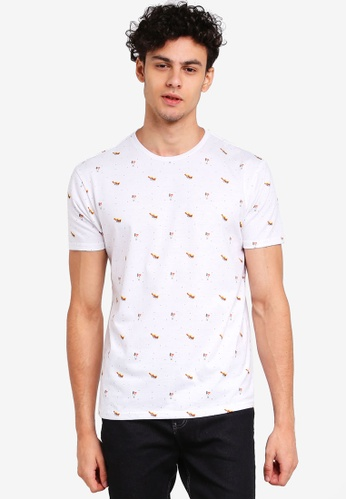 Penshoppe white Relaxed Fit Tee With All-Over Print 71D3BAAA993EB8GS_1