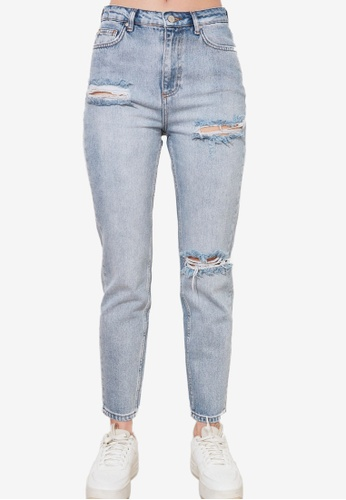 Trendyol blue Ripped High Waist Mom Jeans 60C36AACCBA67CGS_1