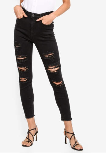 MISSGUIDED black Sinner High Waist Ripped Skinny Jeans E4DF2AAE80BB9DGS_1