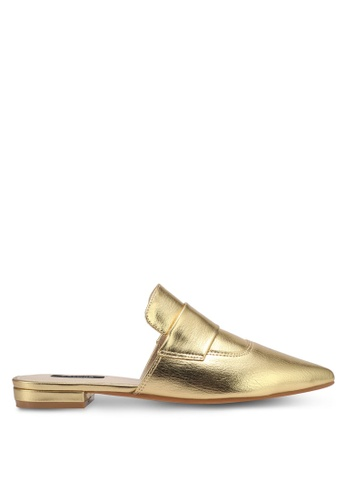 ZALORA gold Metallic Slip-On Loafers 0BD77SHBF6905DGS_1