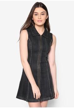 Love Denim Zip Through Shift Dress
