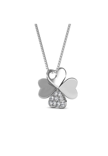 Her Jewellery silver Swarovski® Crystals -Clover Pendant (18K White Gold Plated) Her Jewellery HE581AC0RCCGMY_1