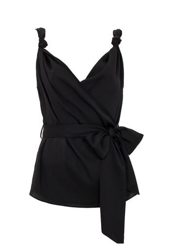 Jimmy Sanders 黑色 Jimmy Sanders Women's Blouse with Knot Detail 1677EAAC56BB06GS_1