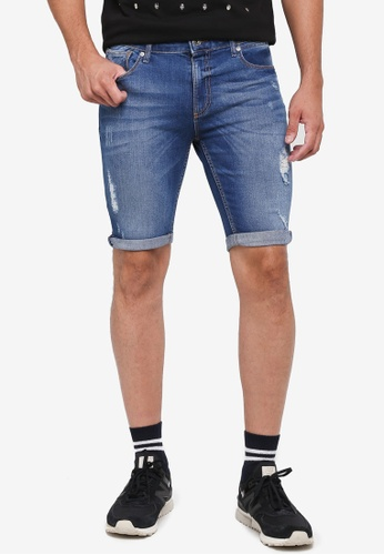River Island 藍色 Distressed Skinny Shorts 2C51AAACF26ACFGS_1