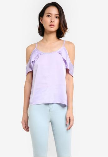 Supre purple Satin Cold Shoulder Top SU225AA0RCU8MY_1