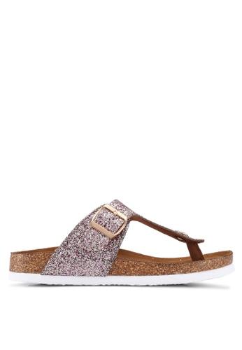 ONLY grey Mathilda Metallic Toe Split Sandals E7025SH858BD65GS_1