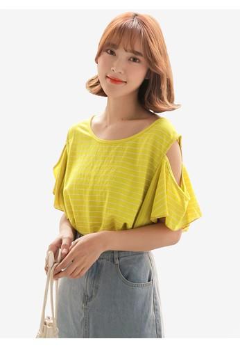 Tokichoi yellow Striped Open Shoulder Top 7B574AACA4052CGS_1