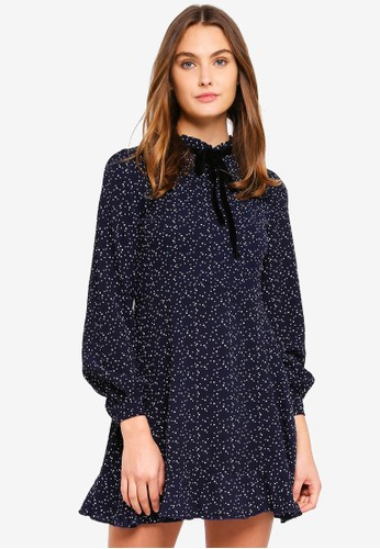 Brave Soul blue and navy Long Sleeve Dress With Bow Detail 8008FAA13AD5B4GS_1