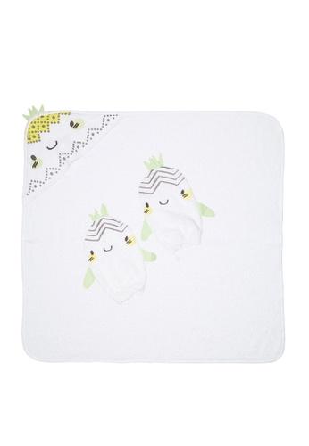 Du Pareil Au Même (DPAM) white Pineapple Towel And Mittens Set 87354KAFF6D4C1GS_1