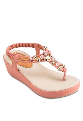 彈性點綴 Tesprit 品質條厚底涼鞋, 女鞋, 鞋