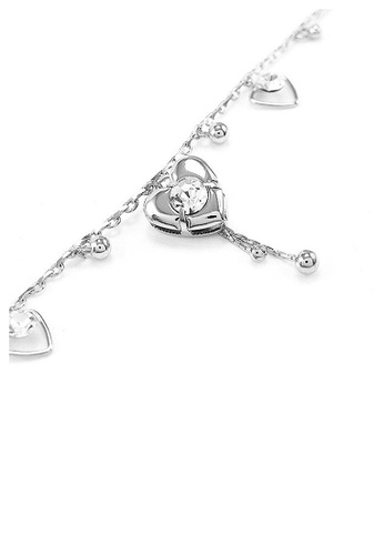 Glamorousky silver Elegant Heart Anklet with Silver Austrian Element Crystals EE51EACCCF8379GS_1