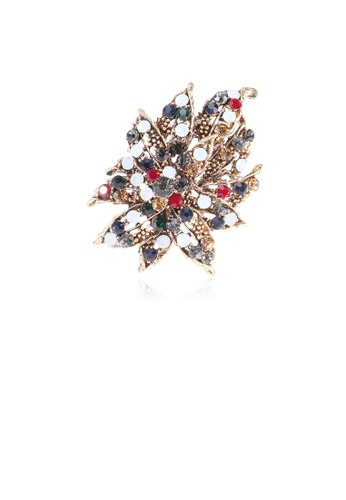 Glamorousky silver Fashion and Elegant Plated Gold Geometric Flower Brooch with Cubic Zirconia E1225AC6D55C98GS_1