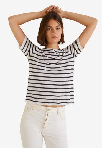 Mango blue Striped Jersey T-Shirt A8D24AA0F9B46BGS_1