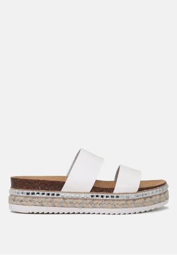 London Rag 白色 双带厚底松高托鞋 2EC9CSH186250BGS_1