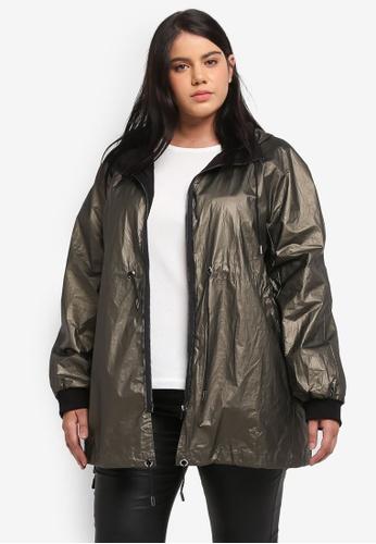 ELVI green Plus Size Khaki Parka Jacket EL779AA0T1QAMY_1