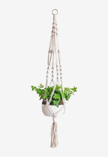 Propstation Macrame Rope Tassel Hanging Planter - White 323FBHL2D41E74GS_1
