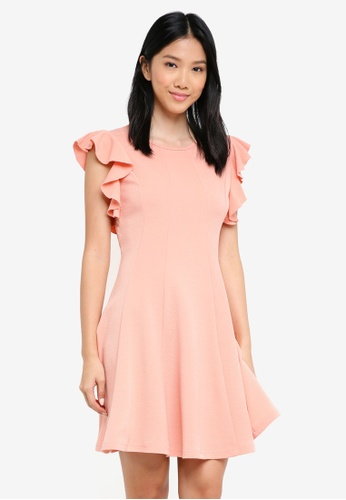 ZALORA pink Ruffle Sleeve Belted Fit And Flare Dress C511FAACDB47D9GS_1