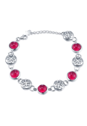 MBLife silver 925 Sterling Silver Lucky Clover Red CZ Bracelet 38833ACB4C7EC5GS_1
