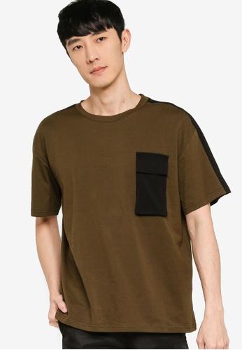 ZALORA BASICS green Oversized Colorblock Utility T-Shirt E4BBCAAA69A281GS_1