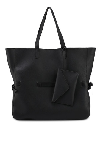 ZALORA black Large Tote With Tie Side Detail 16A45ACA16D13AGS_1