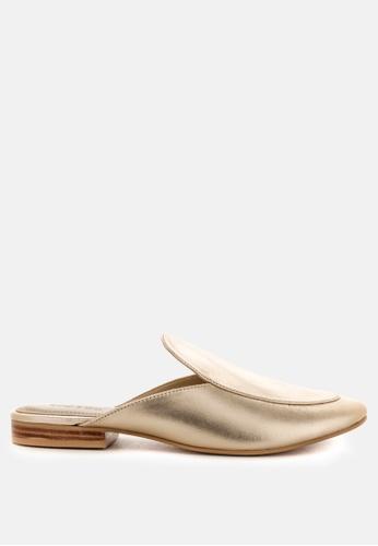 RAG & CO 金色 金属色真皮拖鞋 93043SHDB2E895GS_1