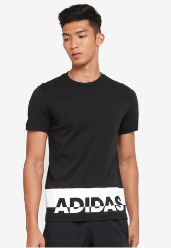 adidas 黑色 and 白色 LOGO印花T恤 3E38BAA2C3F739GS_1