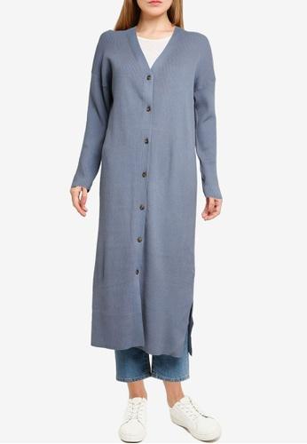 LOWRYS FARM blue Ribbed Long Knitted Cardigan 74349AA7ECEF76GS_1