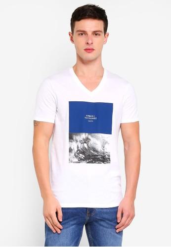 Armani Exchange white Wave Print Vneck T-Shirt 2A63EAA0003554GS_1