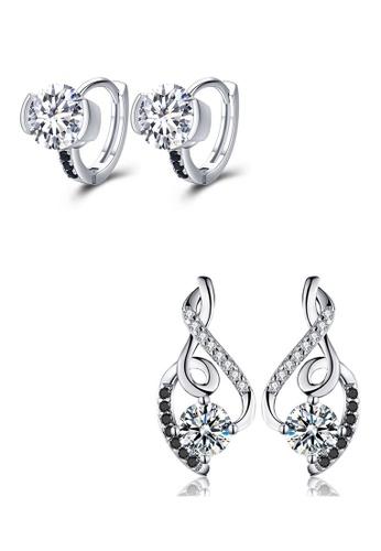 A-Excellence black Premium Elegant White Silver Earring Set 78530AC34325D1GS_1