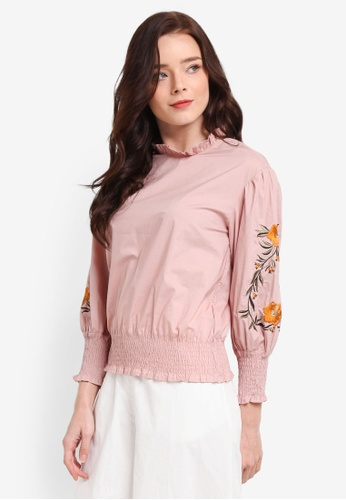 Zalia pink Embroidered Puff Sleeve Top EB6E0AAB1FD2B8GS_1