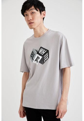 DeFacto grey Short Sleeve Round Neck Cotton Printed T-Shirt 003E3AA0791E01GS_1