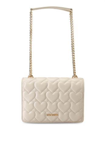 Love Moschino beige Heart Quilted Chain Shoulder Bag F56A4AC3C3EFC5GS_1