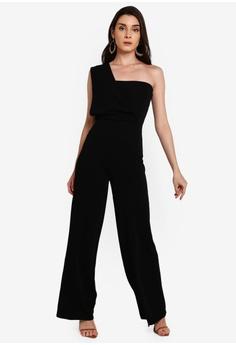 712c789b3 MISSGUIDED black One Shoulder Drape Jumpsuit F1960AAD982924GS_1