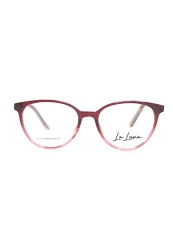 Ibrillen Optical n/a LA LUNA 1001 - C07 Women Cat Eye Glasses Maroon Clear B7DD6GL4C235CAGS_1