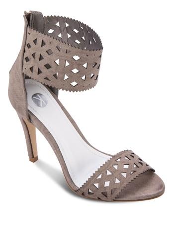 Aphrodite esprit outlet台北雕花踝帶高跟涼鞋, 女鞋, 鞋
