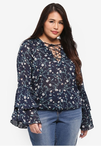 MISSGUIDED navy Plus Size Floral Lace Up Detailed Top 1B6B5AA9F76402GS_1