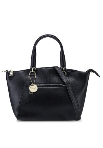 Mel&Co black Double Handle With Zippers Compartments Handbag 8A3E2AC5FE5FCEGS_1