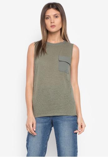Calvin Klein green WOMENS MMF KNITTED T-SHIRT CA221AA0KGDLPH_1