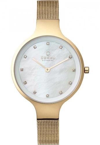 OBAKU white and gold Women's Analogue Quartz Bracelet Watch OB591AC03GFCSG_1