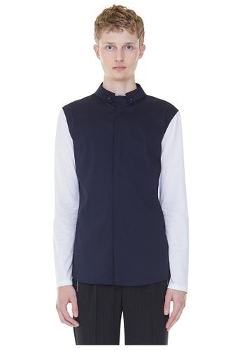 MILLOGREM navy Detachable Collar Shirts MI241AA0GNNZSG_1